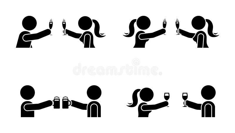 Вставьте диаграмму людей и женщин выпивая вино, пиво, значок шампанского Счастливое торжество молодые люди пиктограммы иллюстрация штока