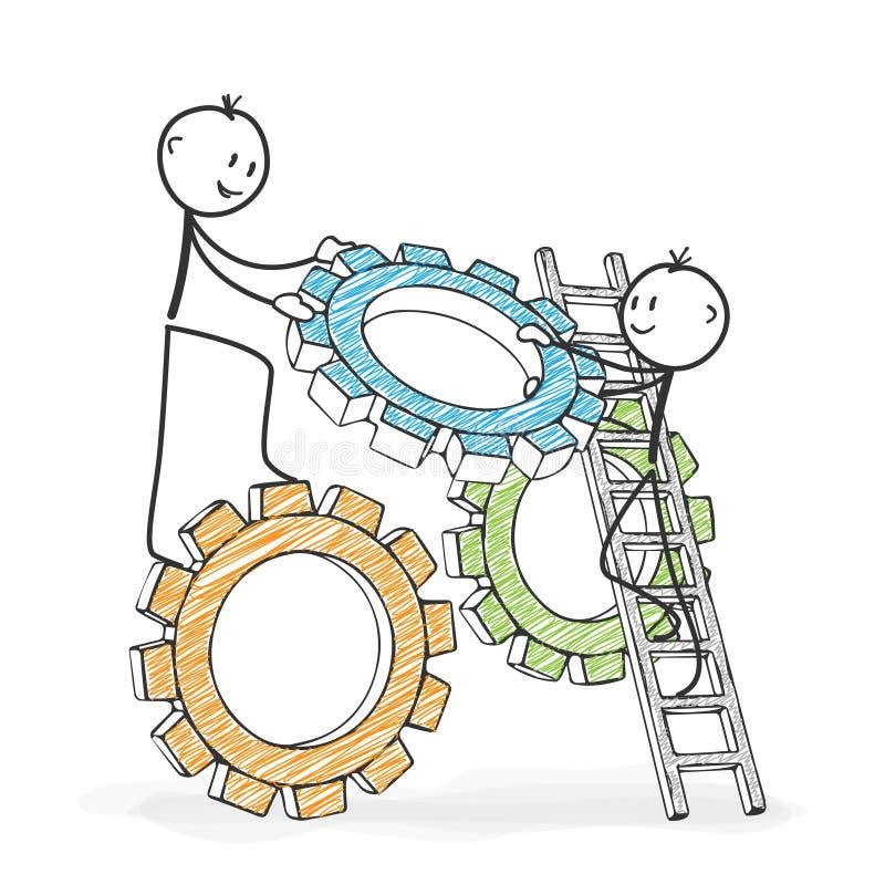 Вставьте диаграмму шарж - Stickman помогая его коллеге символическо бесплатная иллюстрация