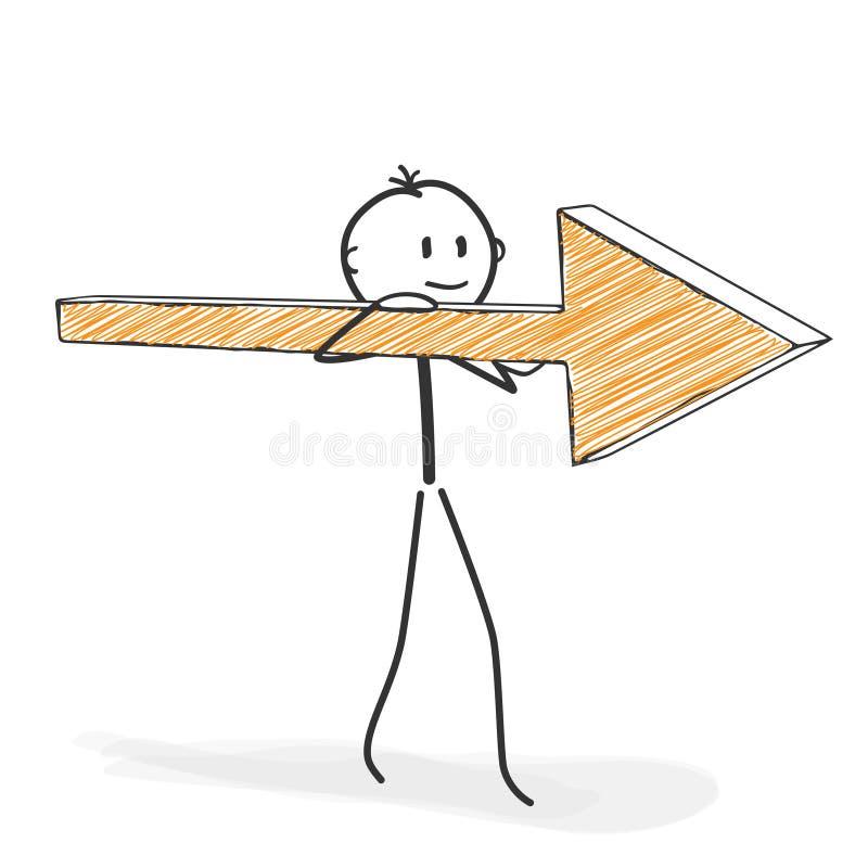 Вставьте диаграмму шарж - Stickman с значком стрелки на его плече иллюстрация вектора