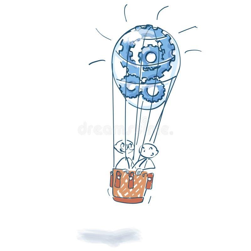 Вставьте диаграммы в горячем воздушном шаре вполне cogwheels иллюстрация штока