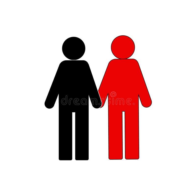 Вставьте диаграмму значок, 2 люд другого цвета, никакой расизм, разнообразие людей, приятельство иллюстрация штока