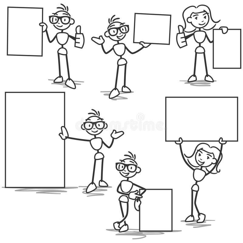 Вставьте диаграмму человека ручки держа пустую афишу знака бесплатная иллюстрация