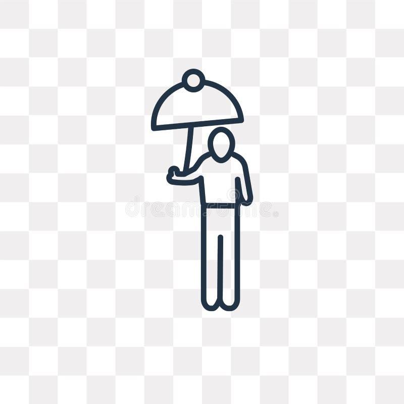 Вставьте человека при изолированный значок вектора зонтика на прозрачной задней части бесплатная иллюстрация