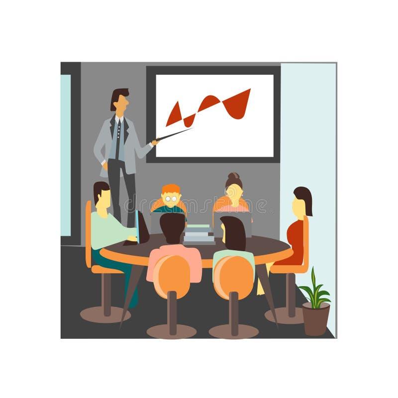 встреча в знаке и символе вектора вектора офиса изолированных на белой предпосылке, встречая в концепции логотипа вектора офиса иллюстрация вектора