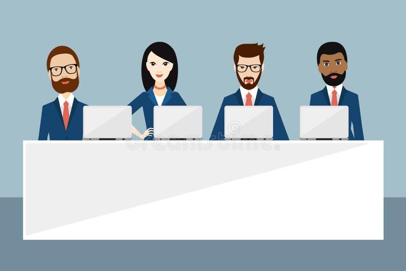 Встреча или конференция менеджеров, представление, речь, руководство, саммит, тренировка дела иллюстрация вектора
