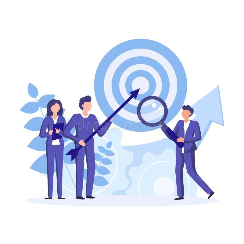 Встреча и превращаться команды стратегические компании Встреча и бредовая мысль бизнесменов для инвестиционных планов финансов r иллюстрация вектора