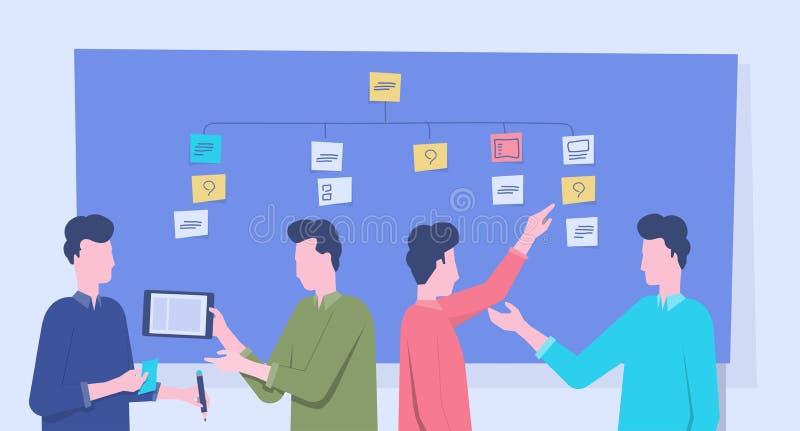 Встреча и проект команды дела группы коллективно обсуждать процесс планирования иллюстрация вектора
