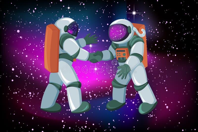 2 встреча и рукопожатия астронавтов на предпосылке ночного неба зарева космоса ровной иллюстрация вектора