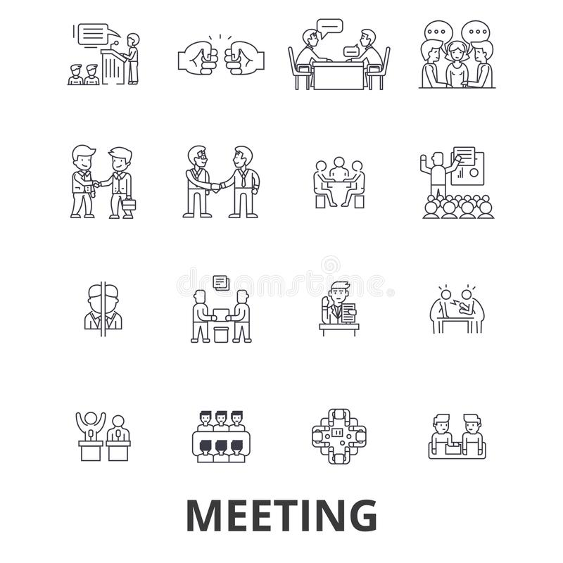 Встреча, конференция, комната дела, представление, офис, рукопожатие, советуя с линия значки Editable ходы плоско иллюстрация вектора