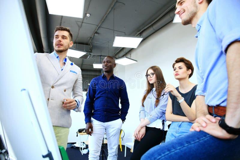 Встреча метода мозгового штурма менеджера ведущая творческая в офисе стоковые фото