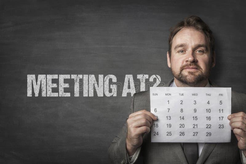 Встреча на тексте с бизнесменом стоковое фото