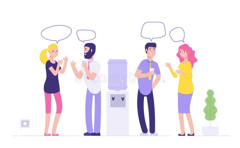 Встреча офиса более крутая Пузыри речи питьевой воды женщин людей говоря на деле более крутого распределителя социальном неофициа иллюстрация вектора