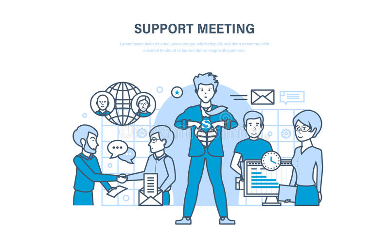 Встреча поддержки Сообщения, партнерство, сыгранность, работники офиса сотрудничества, сотрудничество иллюстрация штока