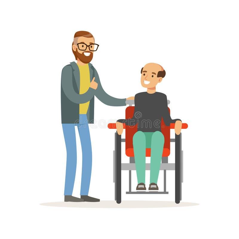 Встреча друзей, 2 людей говоря, одного вывела человека из строя сидя в кресло-коляске, помощи здравоохранения и доступности иллюстрация штока