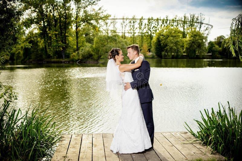 Встреча свадьбы в парке стоковые фотографии rf