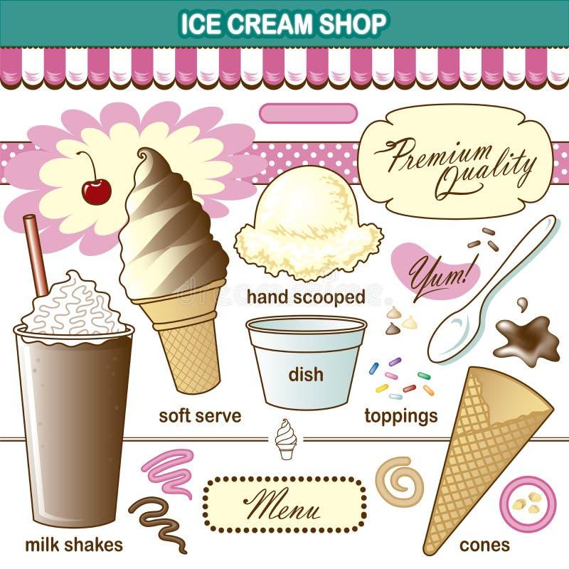 Встряхивание отбензиниваний магазина мороженого искусства вектора установленное бесплатная иллюстрация