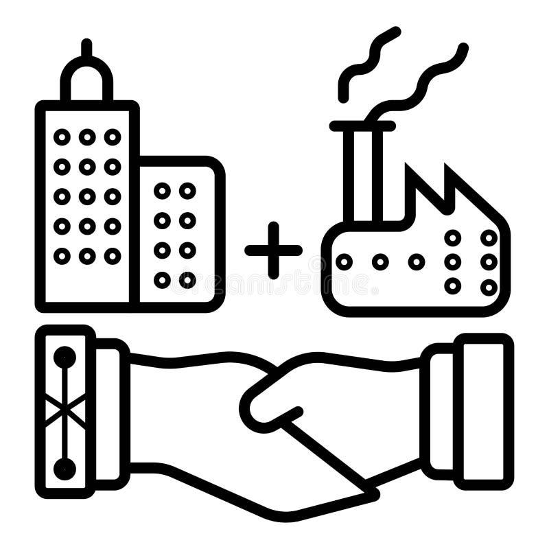 Встряхивание руки дела приема дела тяжелой индустрии иллюстрация штока