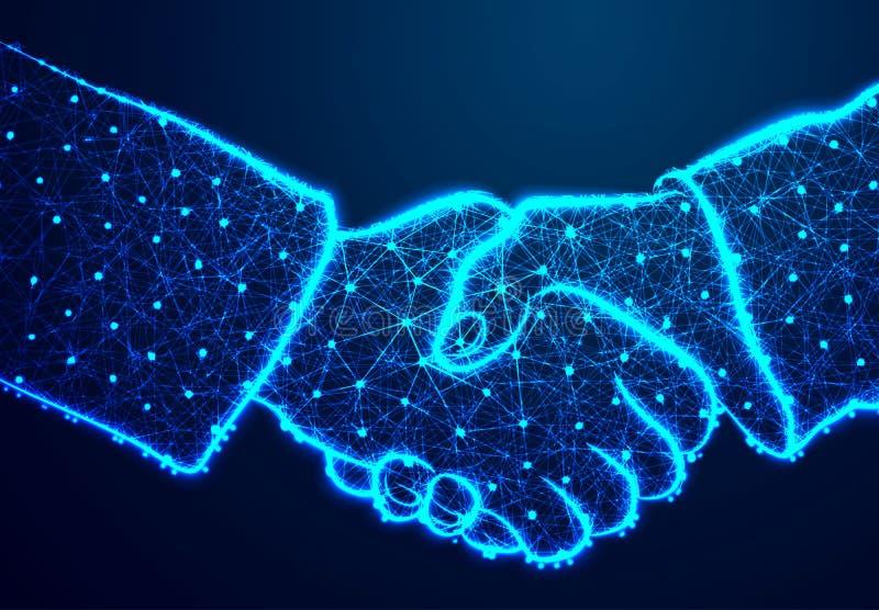 Встряхивание руки Поли конспекта низкое, треугольник, точка, линия, полигон Посветите голубой предпосылке, иллюстрации вектора бесплатная иллюстрация