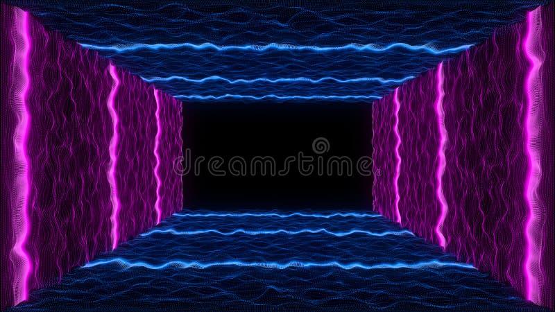 вступление неона конспекта движения ландшафта VJ частицы стиля ленты VHS 80s бесплатная иллюстрация