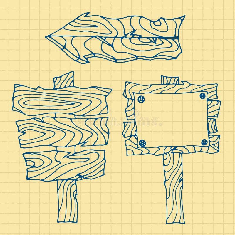 всходит на борт деревянного иллюстрация вектора
