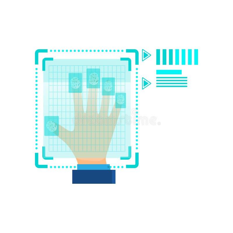 Вся безопасность отпечатка пальцев руки в офисе или секрете иллюстрация вектора