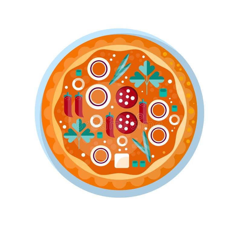 Вся горячая очень вкусная пицца с салями, лук, петрушка, сыр и красный пеец vector иллюстрация на белой предпосылке бесплатная иллюстрация