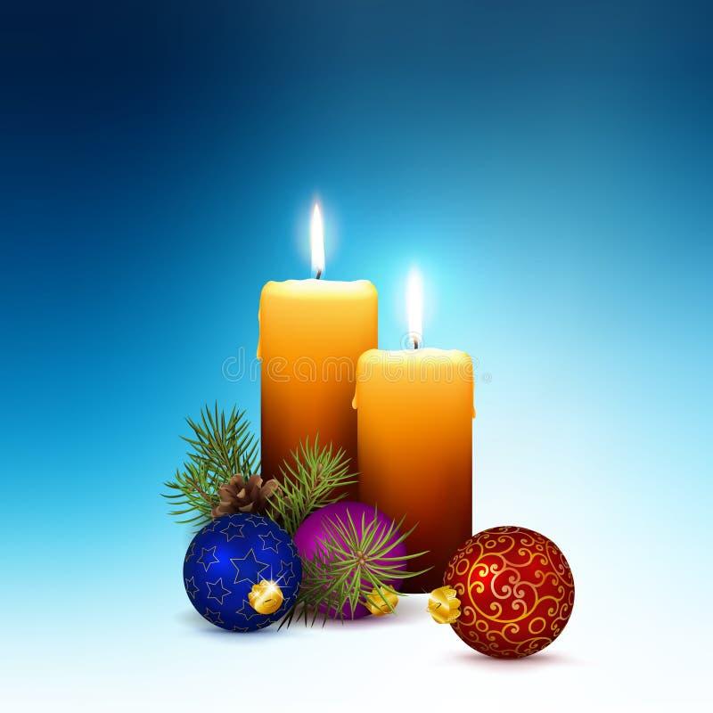 Вторая неделя пришествия - 2 реалистических свечей вектора с украшением рождества на холодной голубой предпосылке иллюстрация вектора