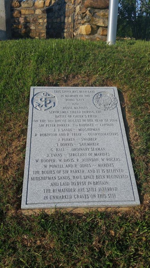 Вторая памятная доска в отношении сражения Caulksfield стоковая фотография