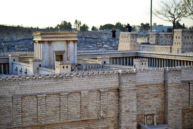 Второй висок Модель стародедовского Иерусалима Музей Израиля в Иерусалиме стоковое фото rf