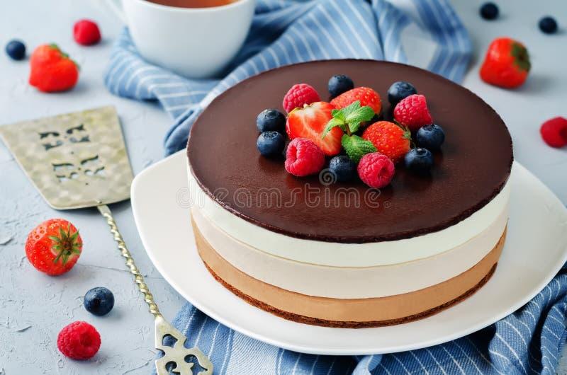 Втройне торт мусса шоколада украшенный с свежими ягодами стоковое фото rf