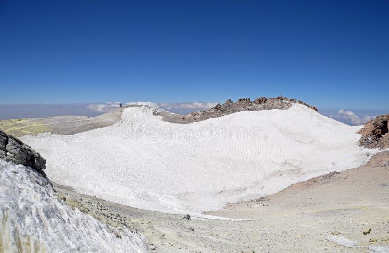 Вулканический кратер монт-Дамаванда Ирана стоковые фотографии rf