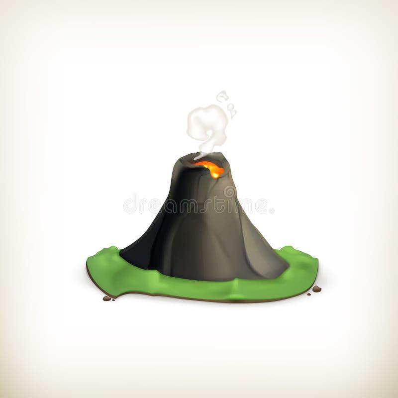 Вулкан, икона иллюстрация вектора
