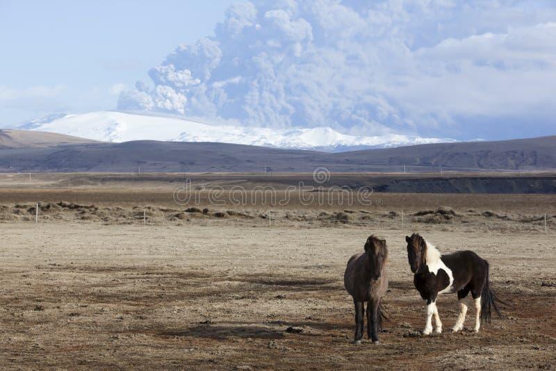 вулкан пониа mt eyjafjallajokull erupti icelandic стоковое изображение rf