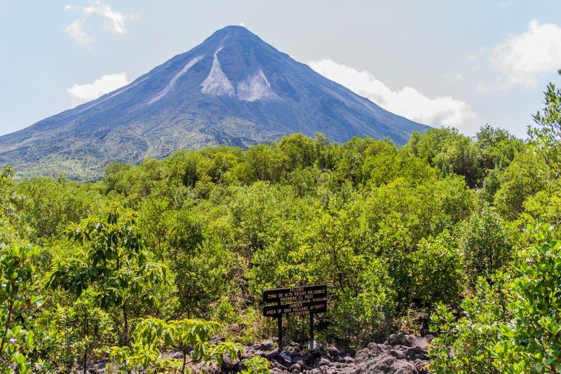 Вулкан Arenal за полем лавы в национальном парке Arenal, Косте Ri стоковые изображения