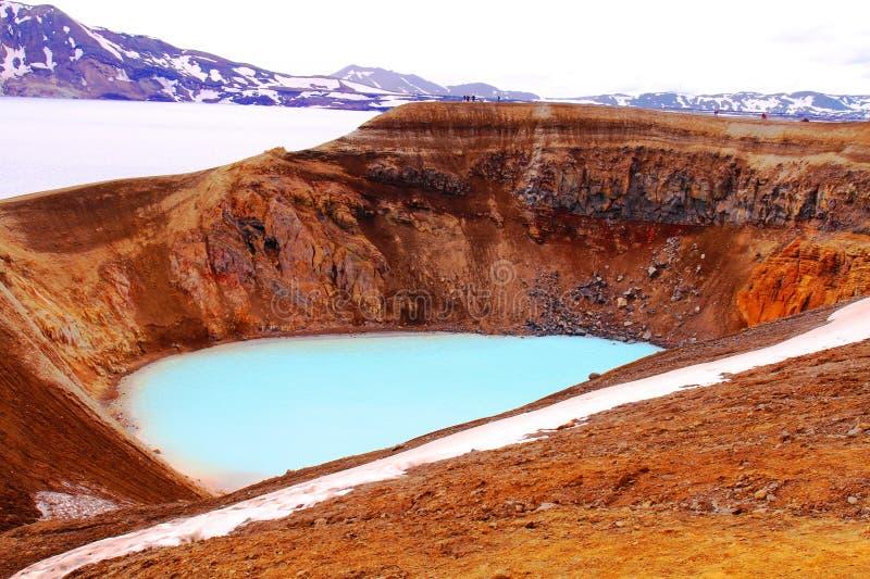 Вулкан Askja - кратер Viti стоковое изображение