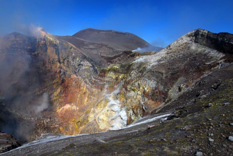 вулкан etna извержения стоковое фото rf