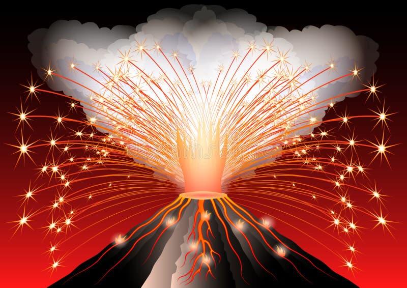 вулкан krakatau Индонесии извержения anak Горячий пылайте и сверкнайте перерывы вне от рта Темный дым и пламенистые потоки лавово бесплатная иллюстрация