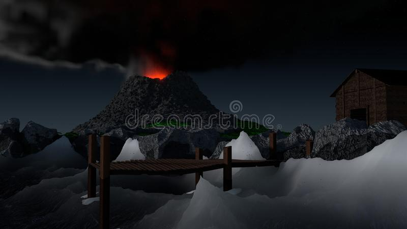 Вулканическая пристань иллюстрация вектора