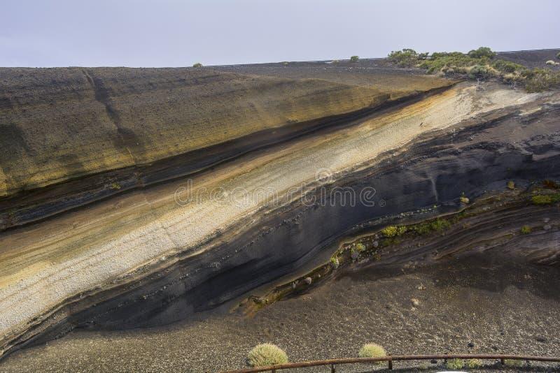 Вулканические слои в Тенерифе, Канарских островах стоковое фото rf