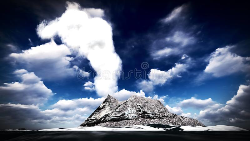 Вулканическое извержение на переводе острова 3d стоковые фотографии rf