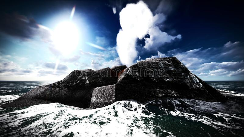 Вулканическое извержение на переводе острова 3d стоковые изображения rf