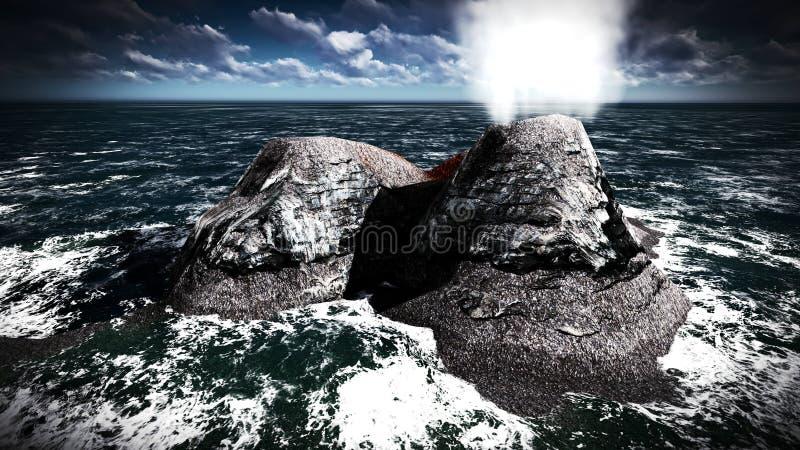 Вулканическое извержение на переводе острова 3d стоковая фотография