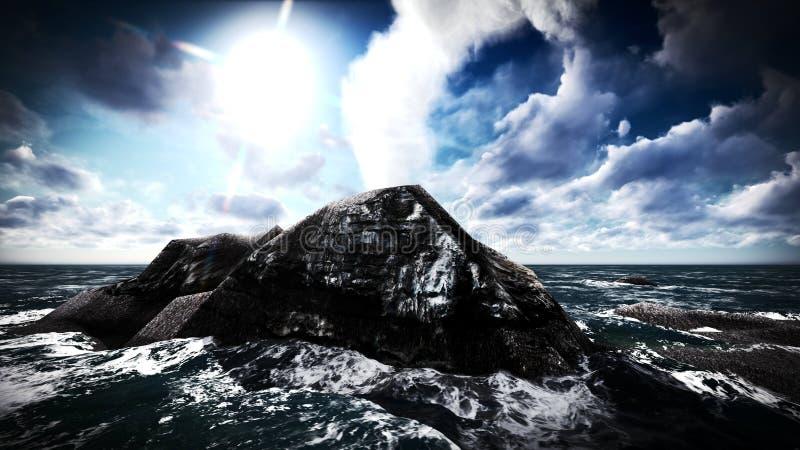 Вулканическое извержение на переводе острова 3d стоковые изображения