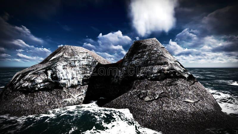 Вулканическое извержение на переводе острова 3d стоковое изображение
