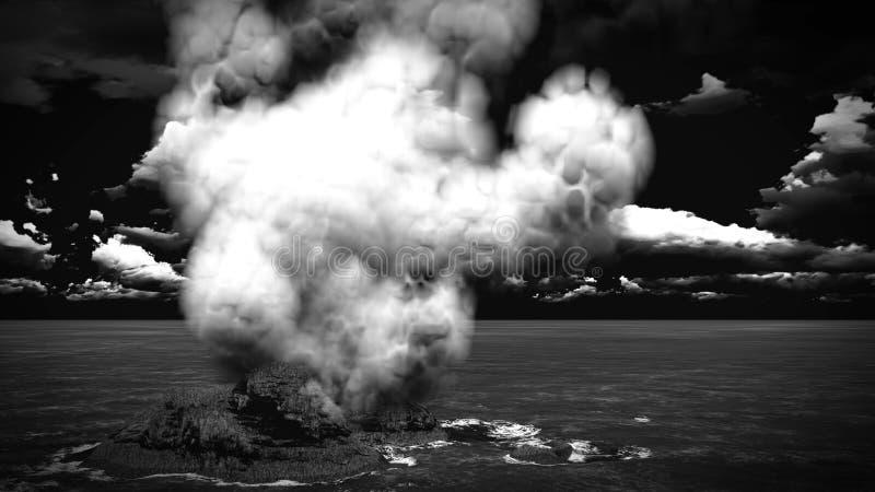 Вулканическое извержение на переводе острова 3d стоковая фотография rf