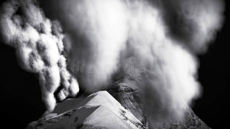 Вулканическое извержение на переводе острова 3d стоковое фото rf