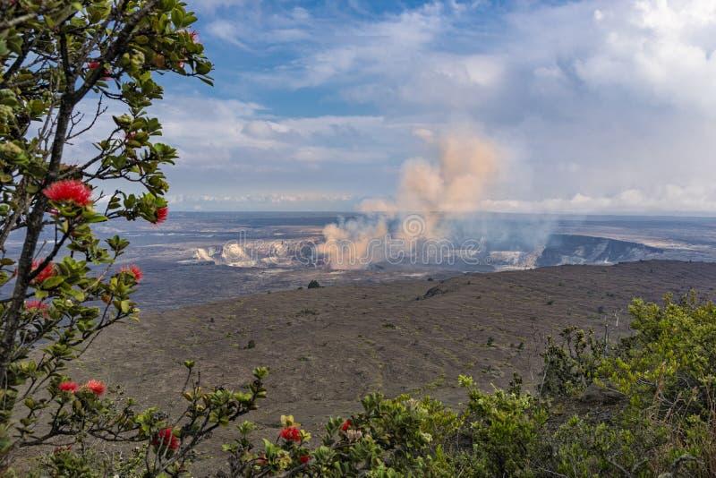Вулкан кальдеры Kilauea на большом острове Гаваи стоковая фотография rf