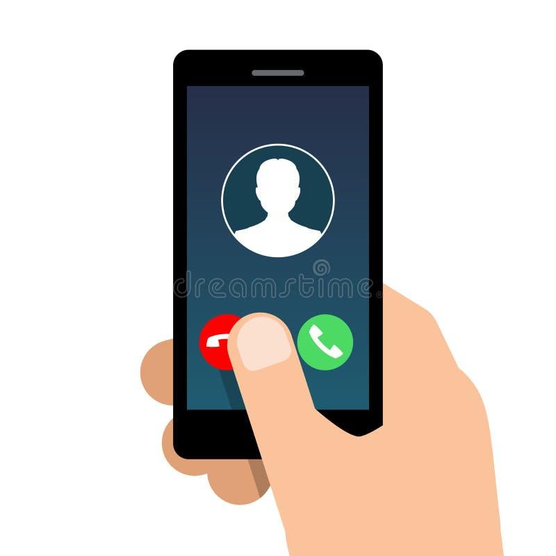 Входящий звонок на мобильном телефоне иллюстрация штока
