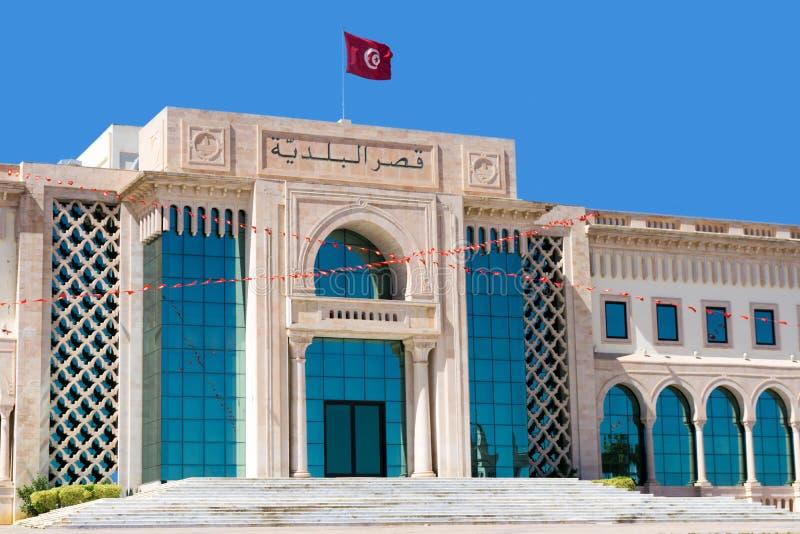 Вход здания городской ратуши в Тунисе, Тунисе стоковые изображения rf