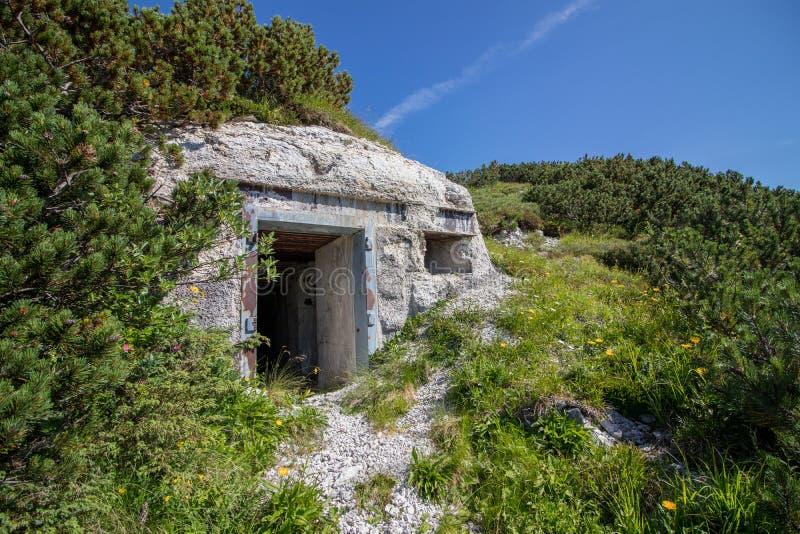 Вход к подземному coverd бункера с заводами стоковые фото
